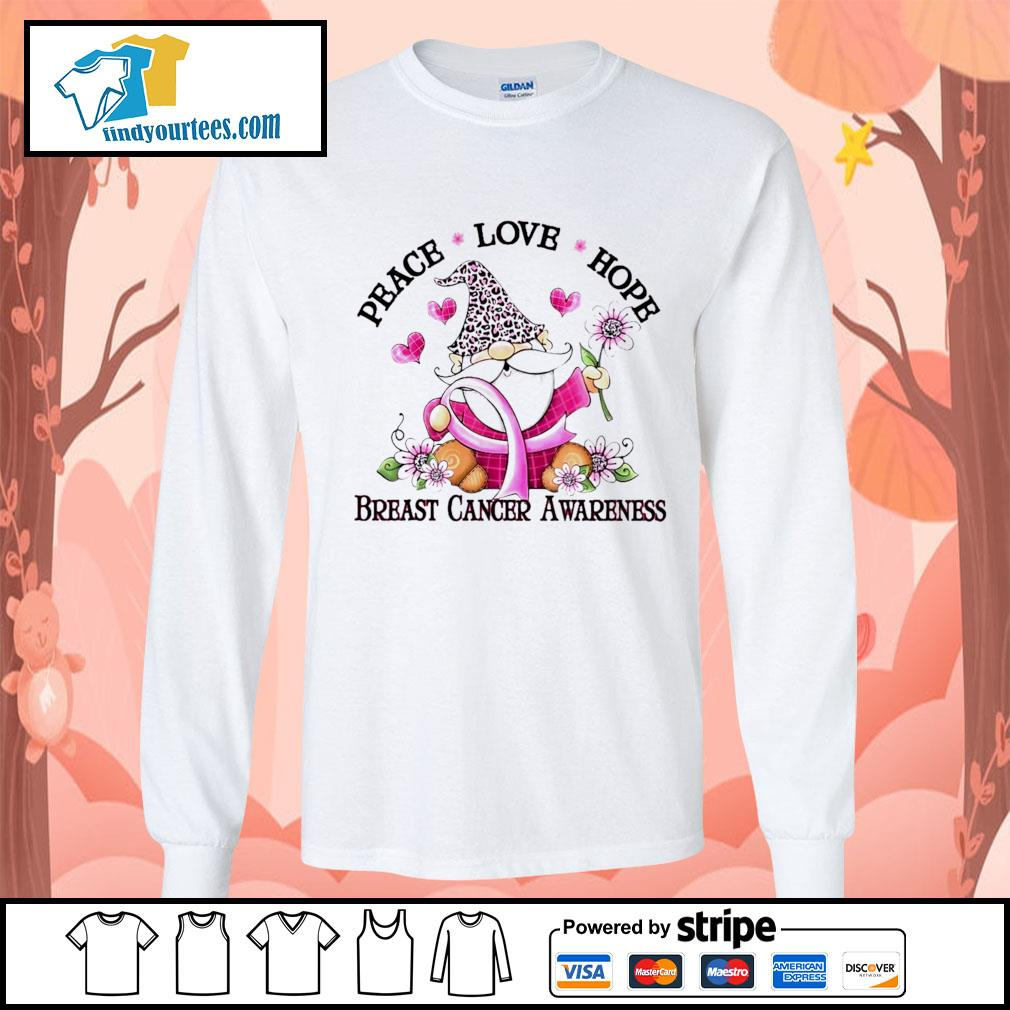 Gnome peace love hope breast cancer awareness s Long-Sleeves-Tee