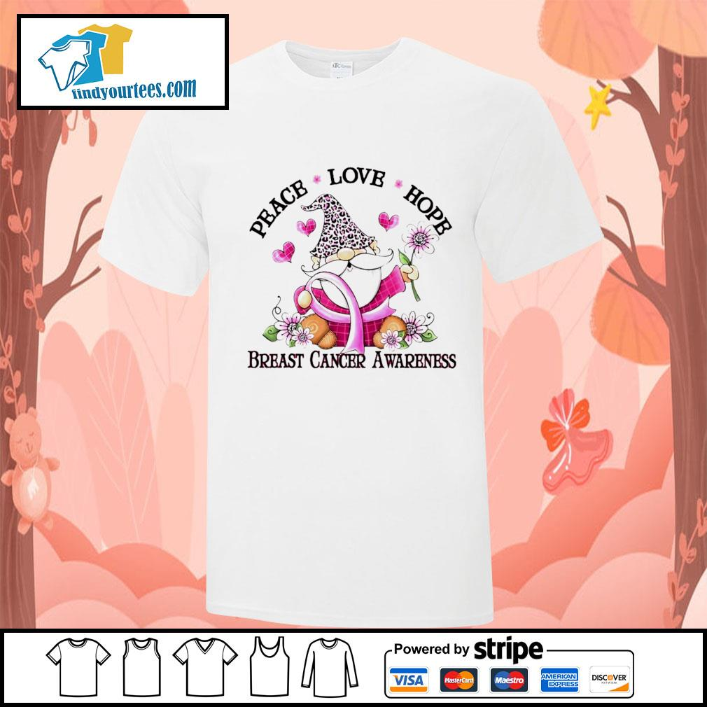 Gnome peace love hope breast cancer awareness shirt