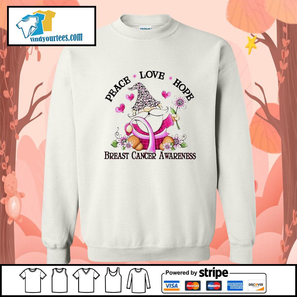 Gnome peace love hope breast cancer awareness s Sweater