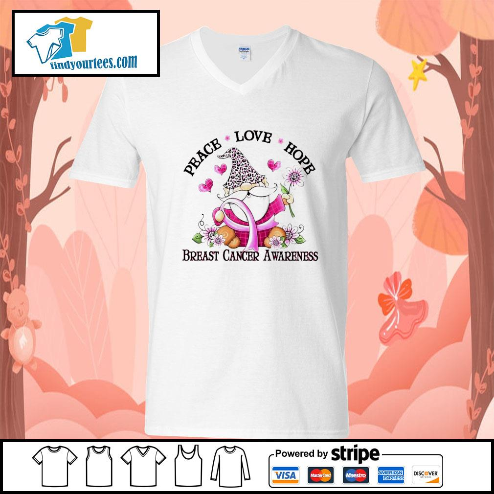 Gnome peace love hope breast cancer awareness s V-neck-T-shirt