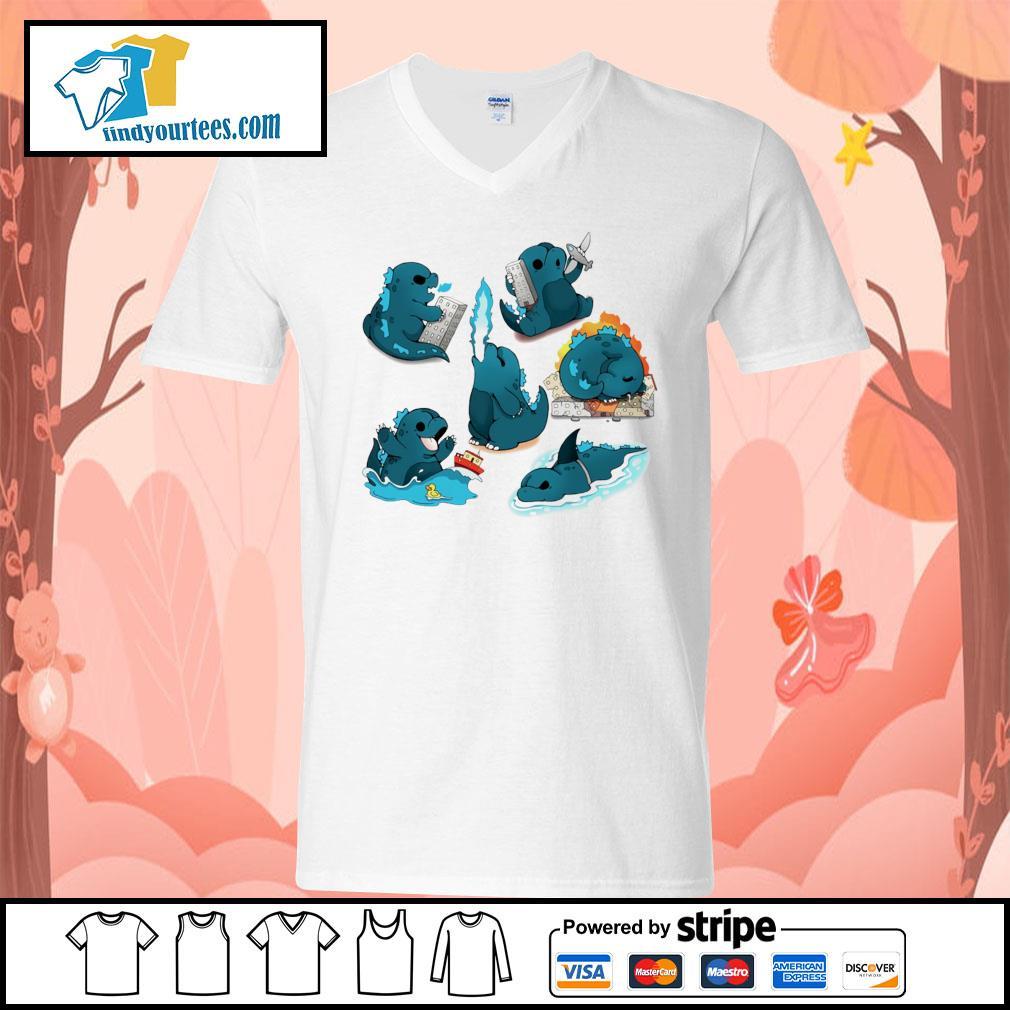 Godzilla Cute Monster s V-neck-T-shirt