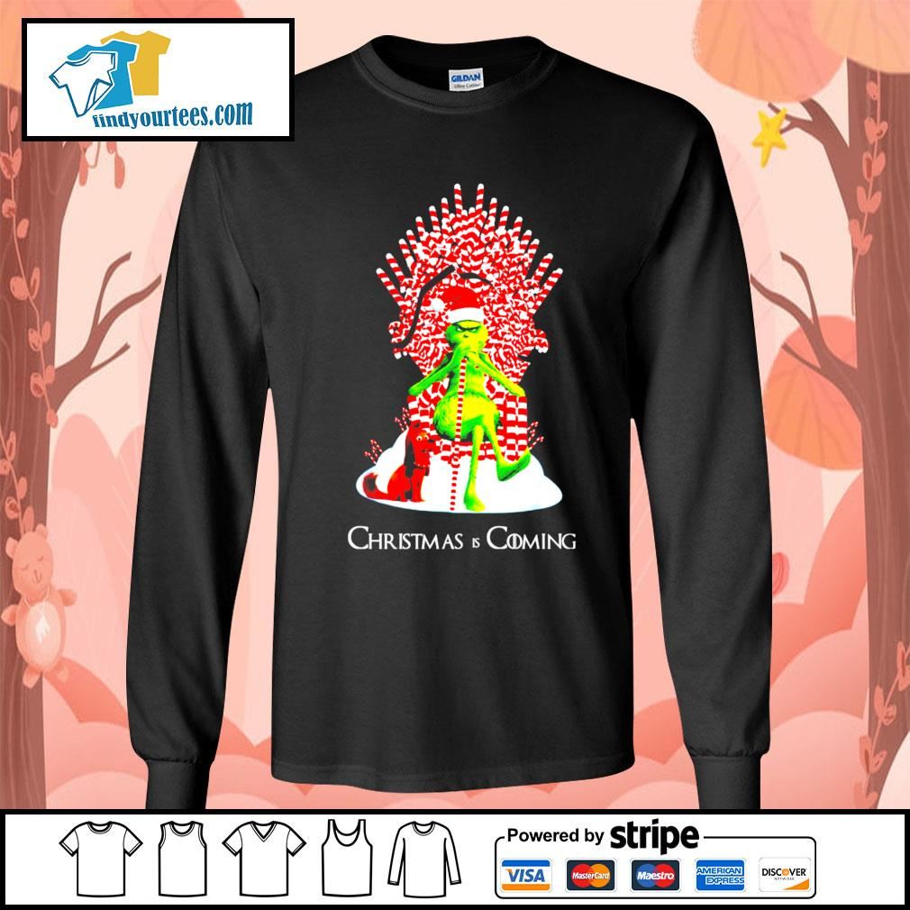 Grinch and dog King Christmas and coming shirt, sweater Long-Sleeves-Tee