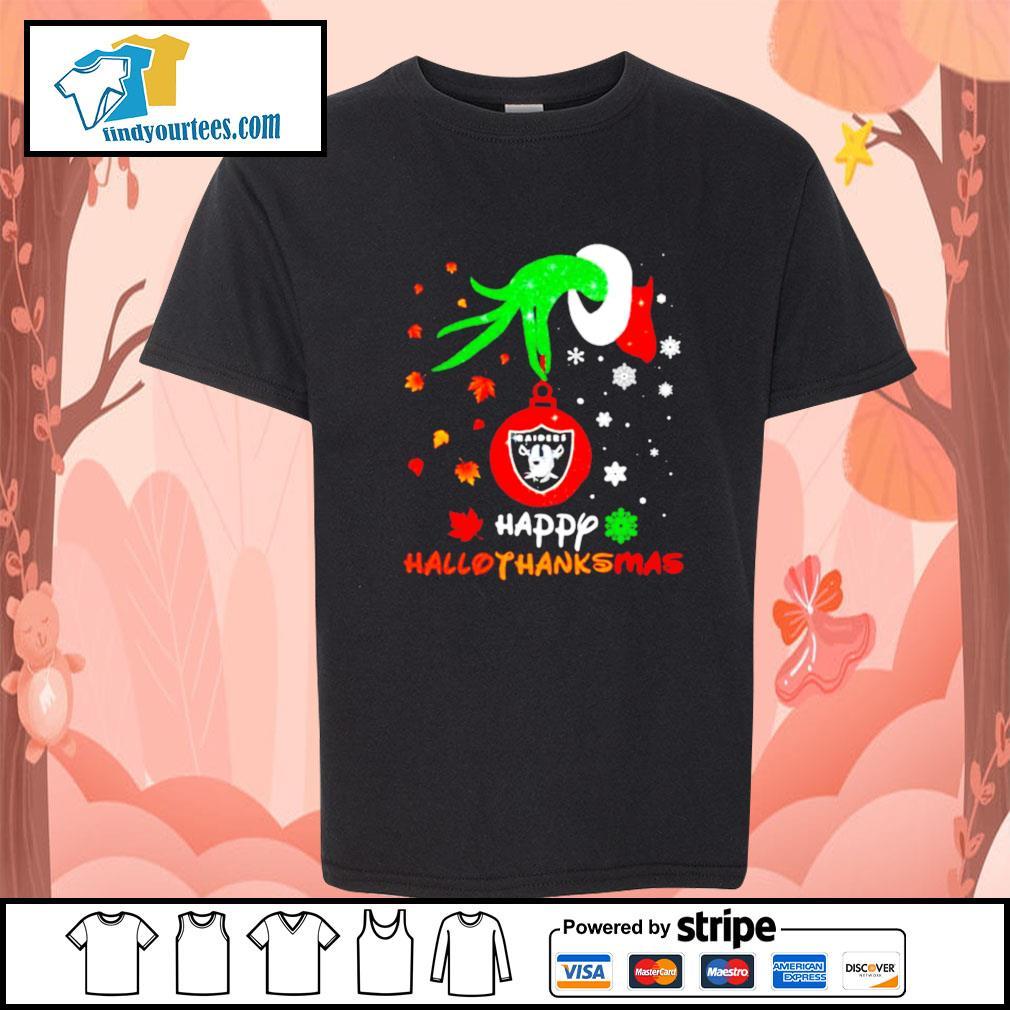 Grinch holding Las Vegas Raiders happy hallothanksmas s Kid-T-shirt