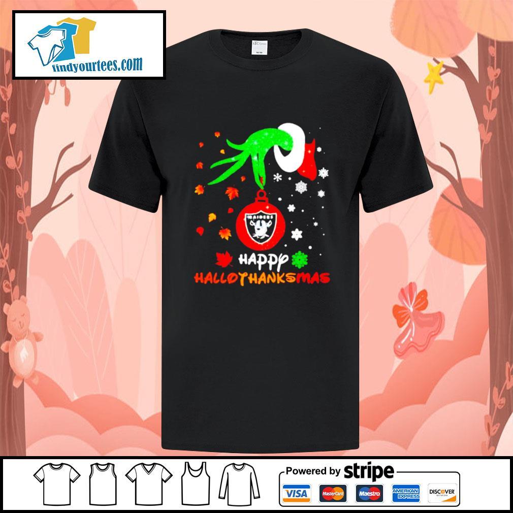 Grinch holding Las Vegas Raiders happy hallothanksmas shirt