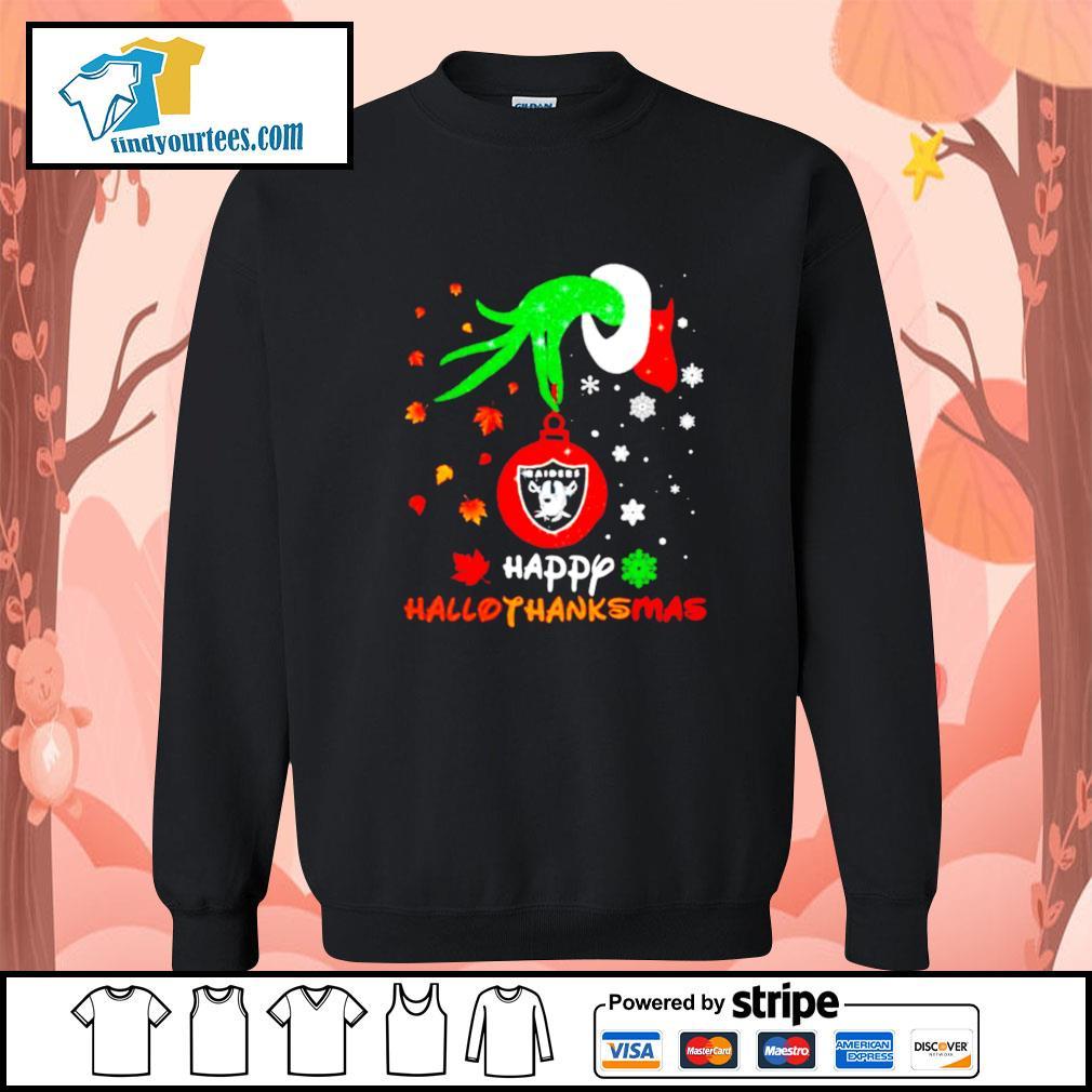 Grinch holding Las Vegas Raiders happy hallothanksmas s Sweater