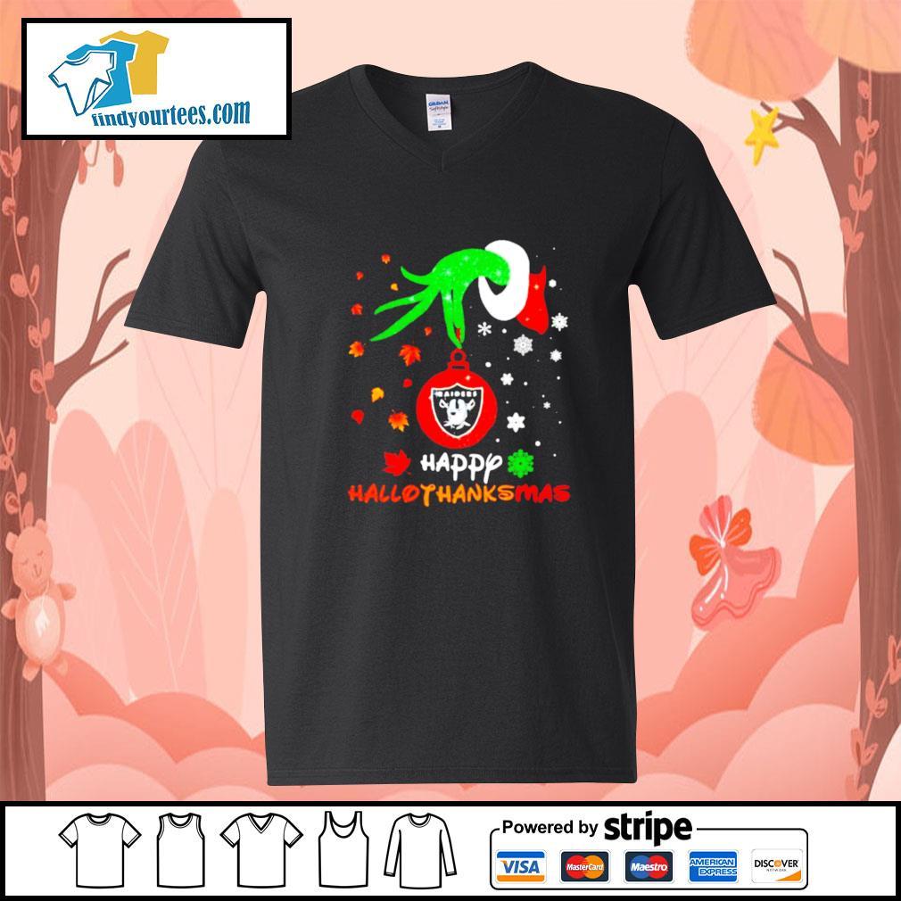 Grinch holding Las Vegas Raiders happy hallothanksmas s V-neck-T-shirt