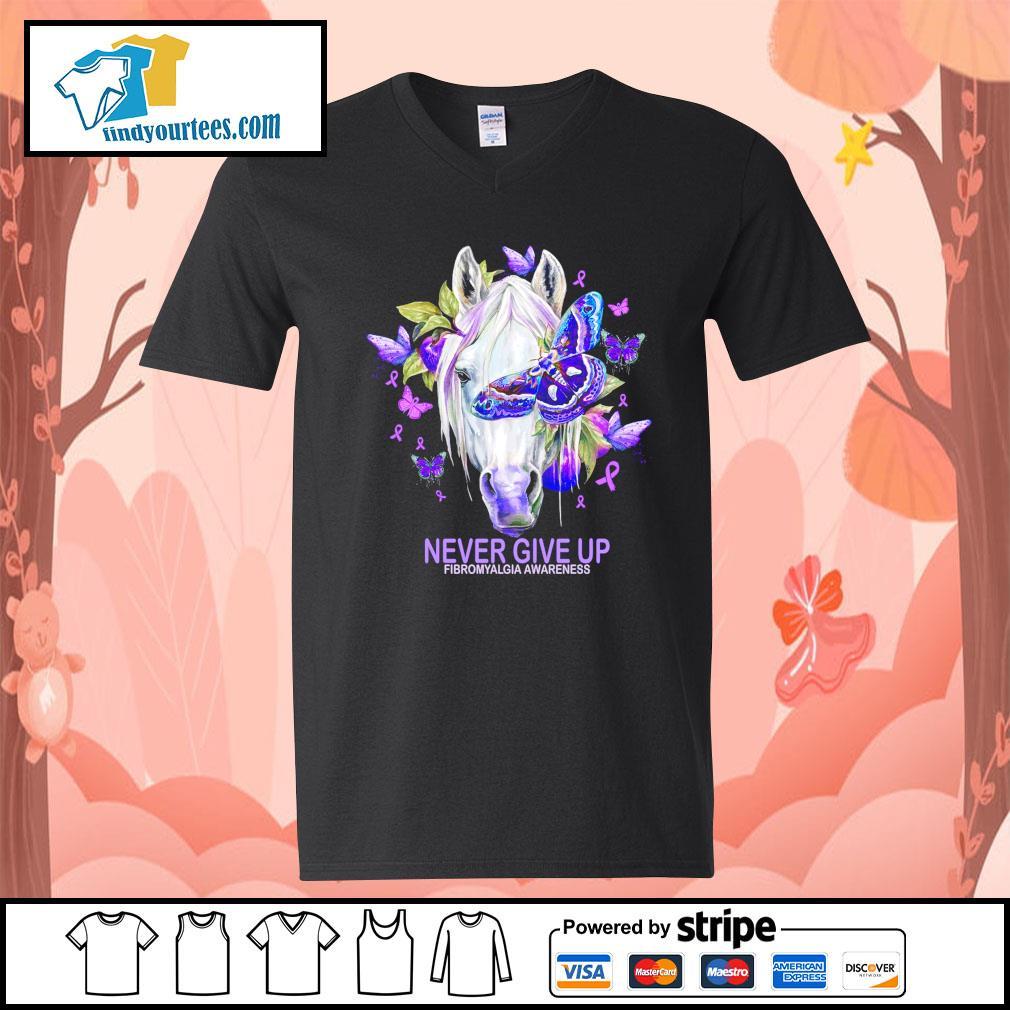Horse never give up fibromyalgia awareness s V-neck-T-shirt