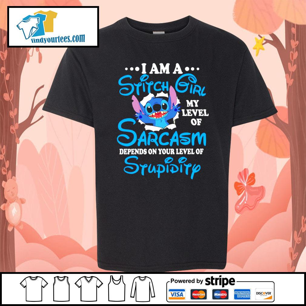 I am a Stitch girl my level of sarcasm depends on your level of stupidity s Kid-T-shirt