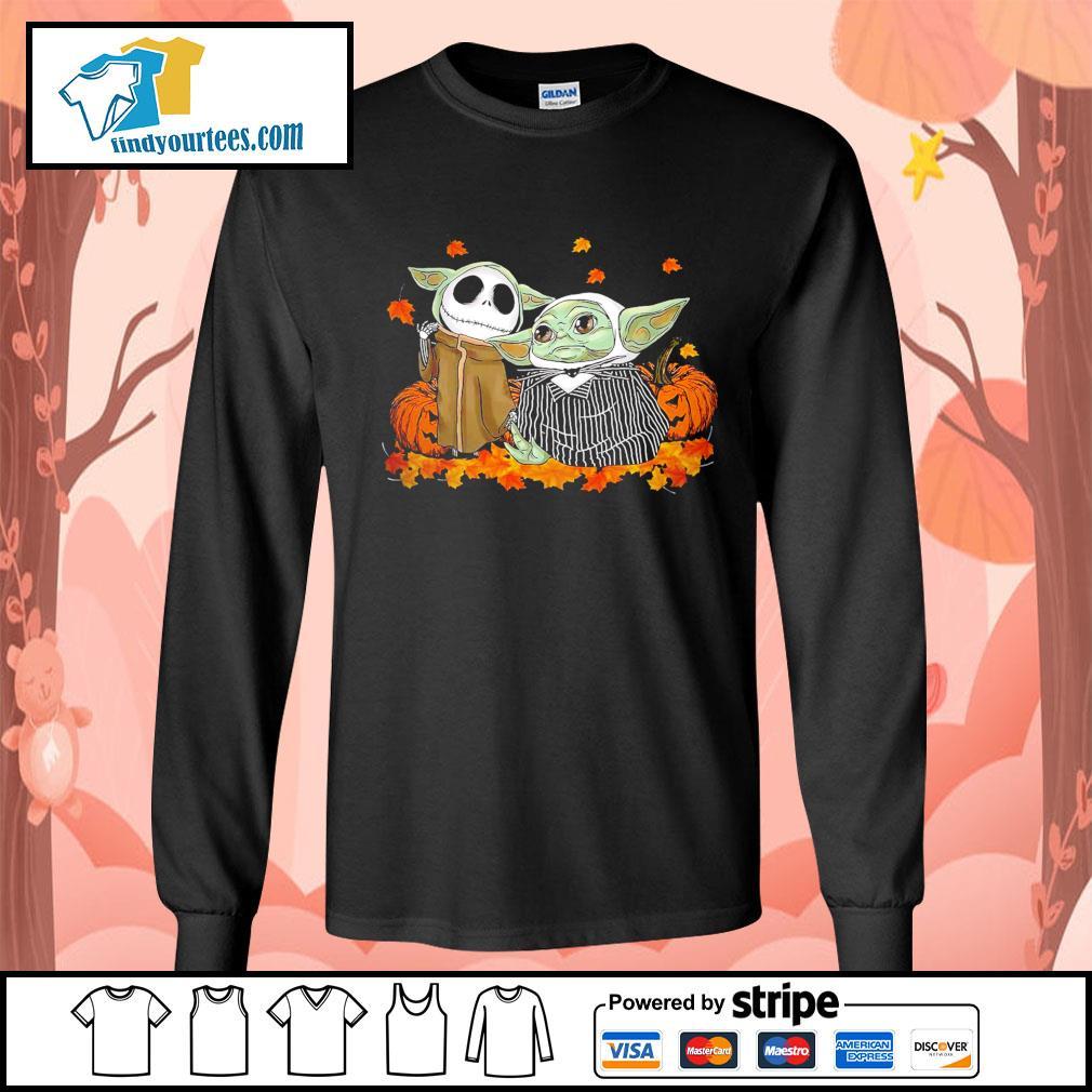 Jack Skellington and Baby Yoda thanksgiving Halloween s Long-Sleeves-Tee