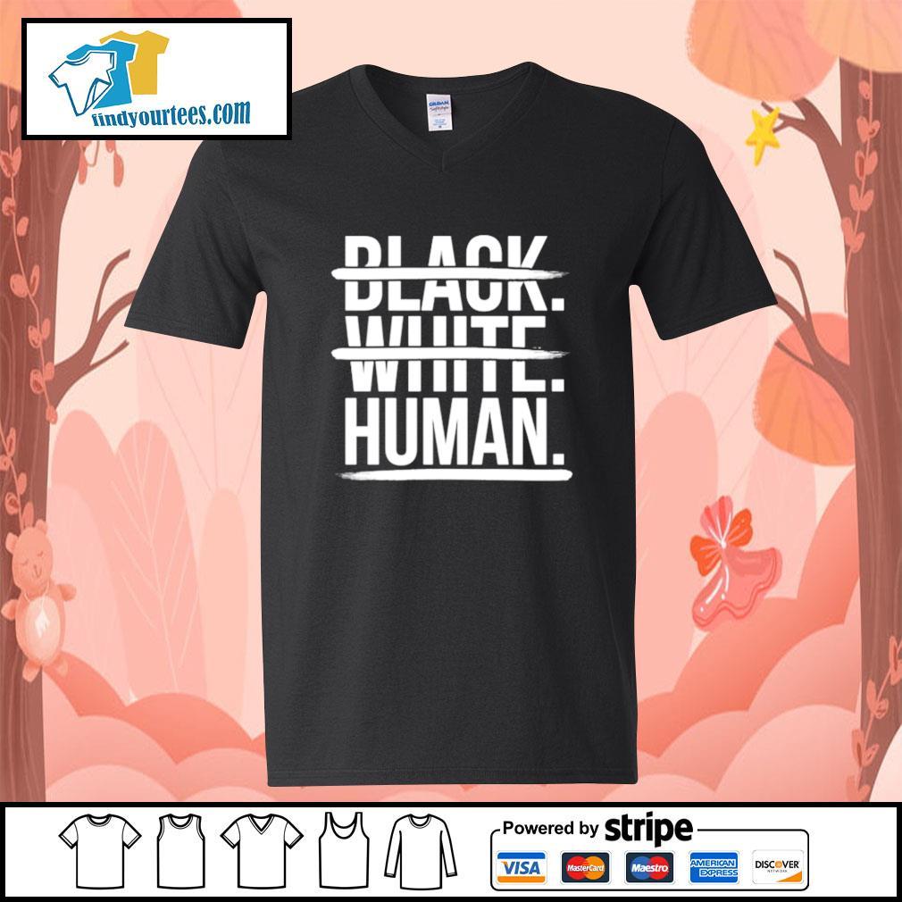 JoelPatrick Black white human s V-neck-T-shirt
