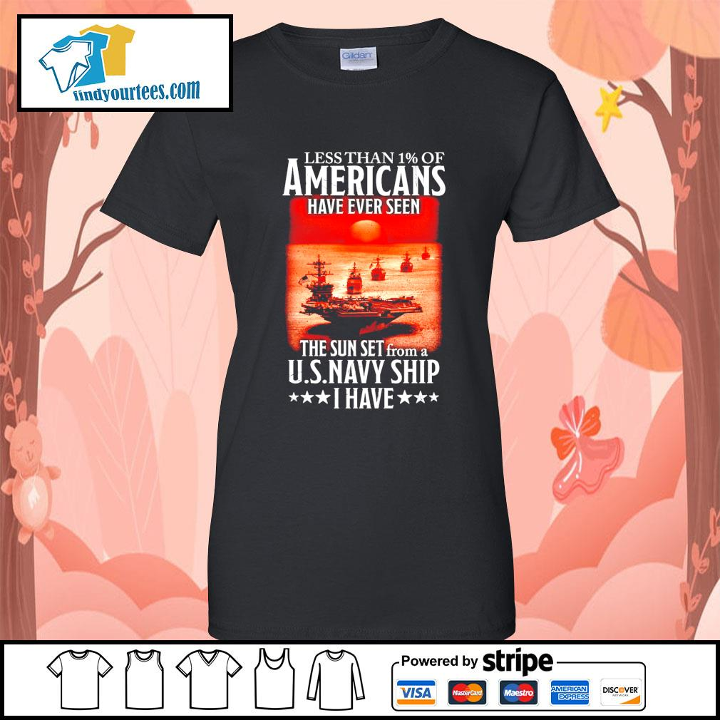 Less than 1 of Americans have ever seen the sun set from a U.S.Navy ship I have s Ladies-Tee