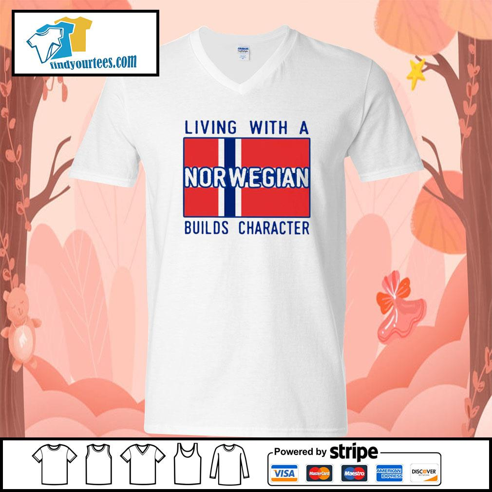 Living with Norwegian Builds character s V-neck-T-shirt
