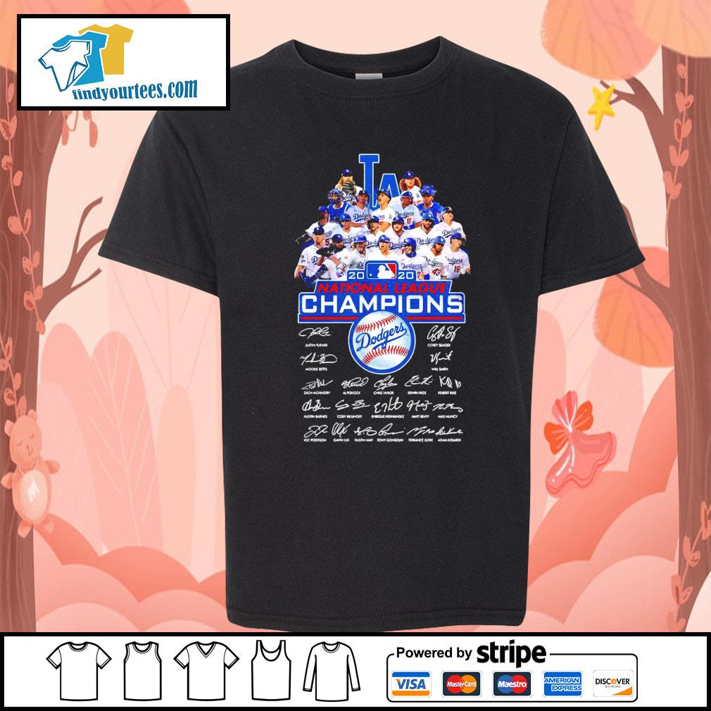 Los Angeles Dodgers 2020 National League Champions signatures s Kid-T-shirt