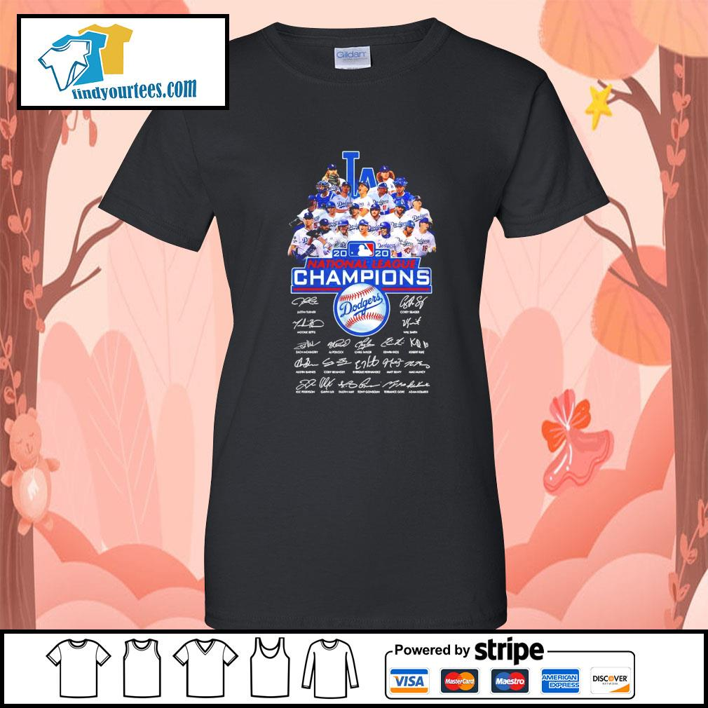 Los Angeles Dodgers 2020 National League Champions signatures s Ladies-Tee