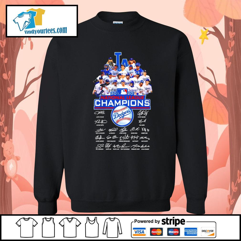 Los Angeles Dodgers 2020 National League Champions signatures s Sweater