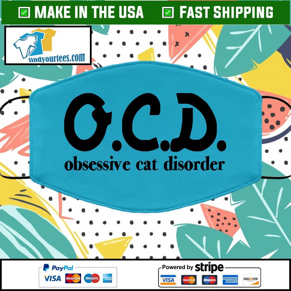 OCD obsessive cat disorder face mask blue