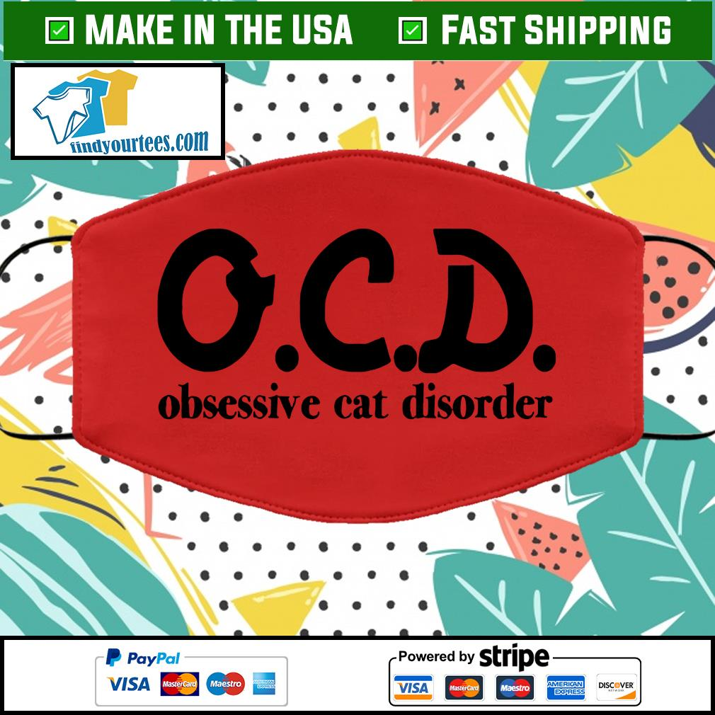 OCD obsessive cat disorder face mask red