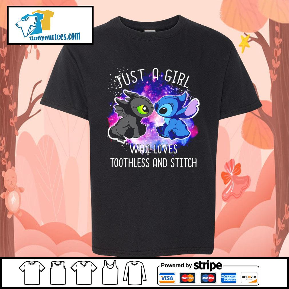 Official just a girl who loves Toothless and Stitch s Kid-T-shirt