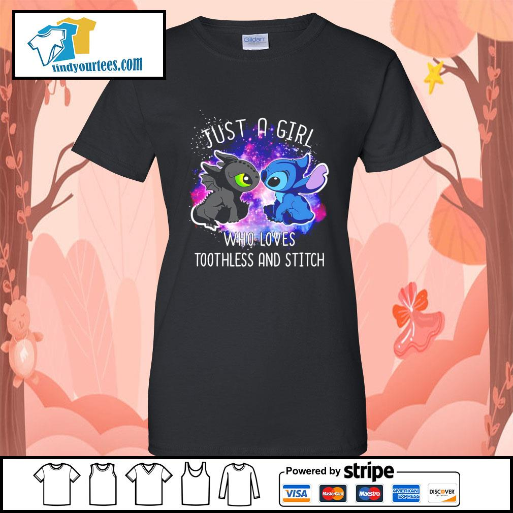 Official just a girl who loves Toothless and Stitch s Ladies-Tee