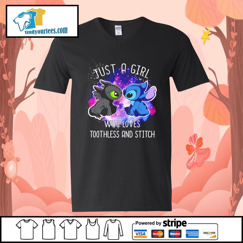 Official just a girl who loves Toothless and Stitch s V-neck-T-shirt