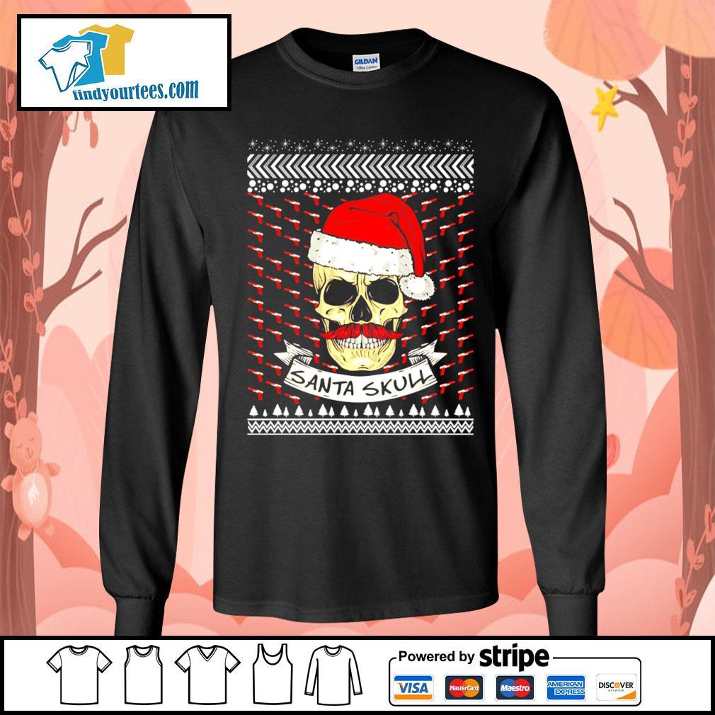 Santa Skull ugly Christmas sweater Long-Sleeves-Tee