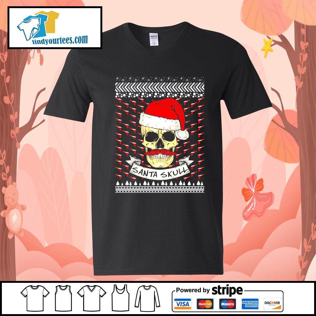 Santa Skull ugly Christmas sweater V-neck-T-shirt