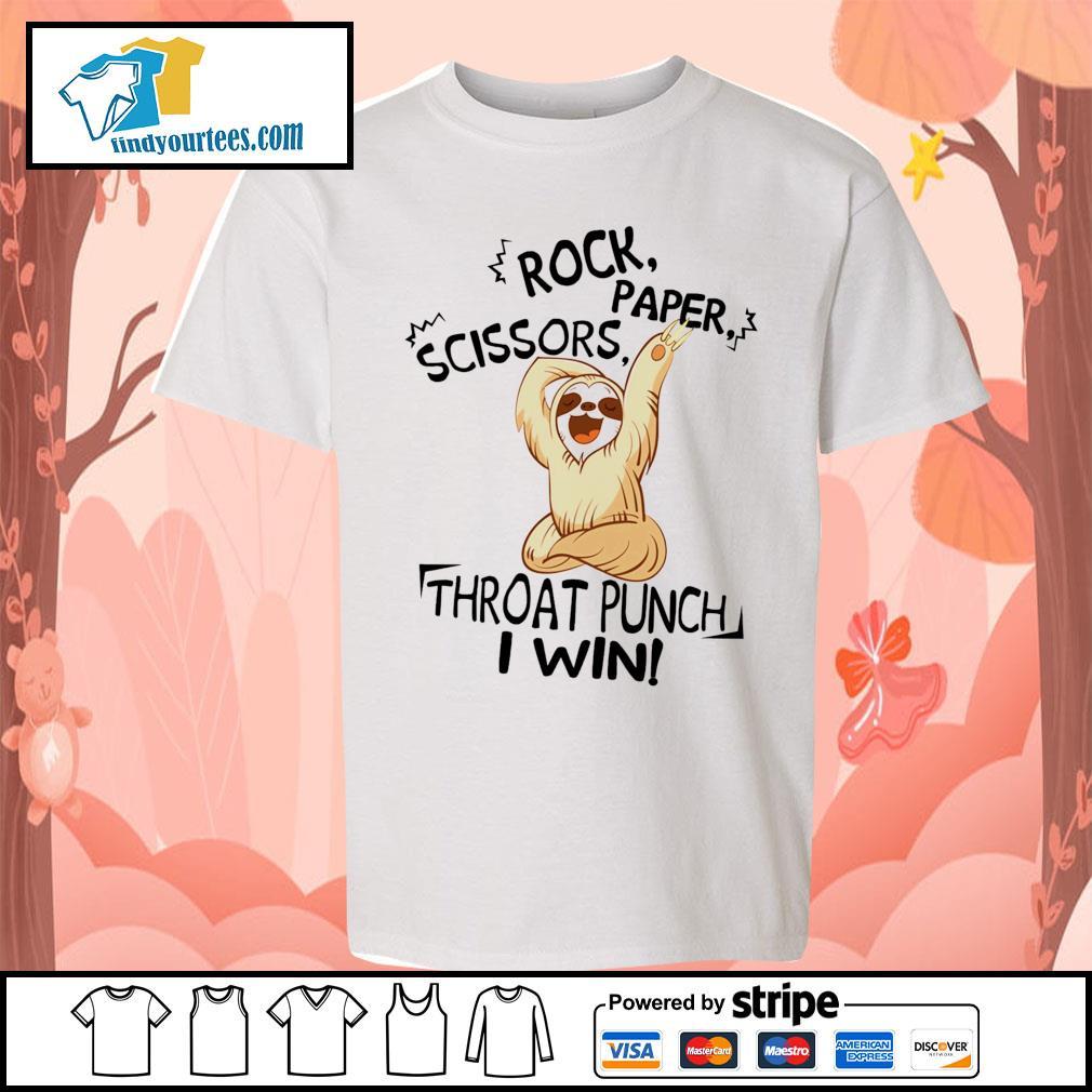 Sloth rock paper scissors throat punch I win s Kid-T-shirt