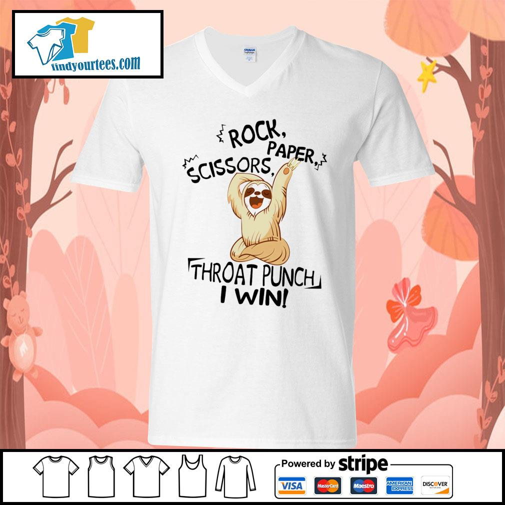 Sloth rock paper scissors throat punch I win s V-neck-T-shirt