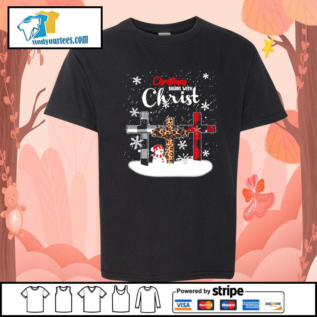 Snowman Christmas begins with Christ s Kid-T-shirt