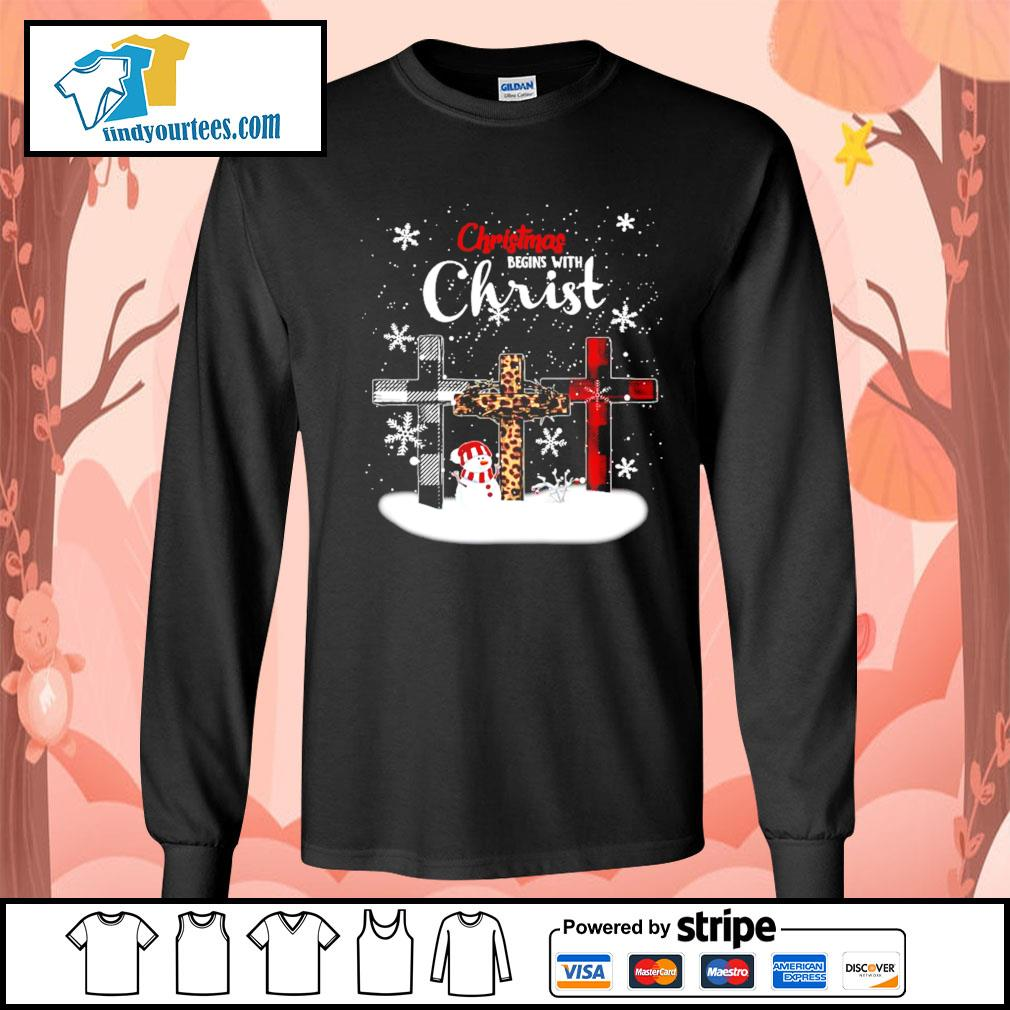 Snowman Christmas begins with Christ s Long-Sleeves-Tee