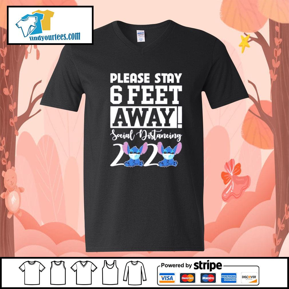 Stitch please stay 6 feet away social distancing 2020 s V-neck-T-shirt