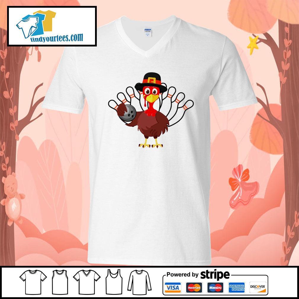 Turkey bowling Thanksgiving s V-neck-T-shirt