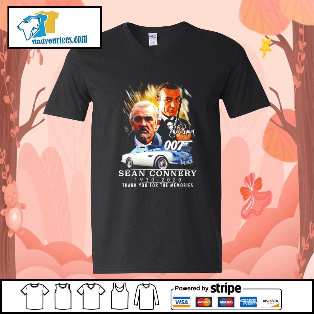 007 Sean Connery 1930 2020 thank you for the memories signature s V-neck-T-shirt