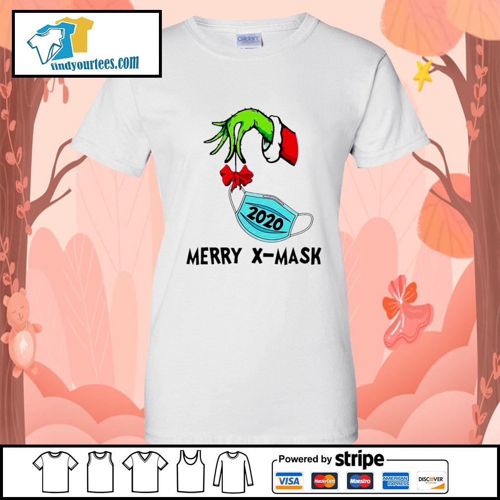 2020 Grinch holding face mask Merry X-Mask shirt, sweater Ladies-Tee