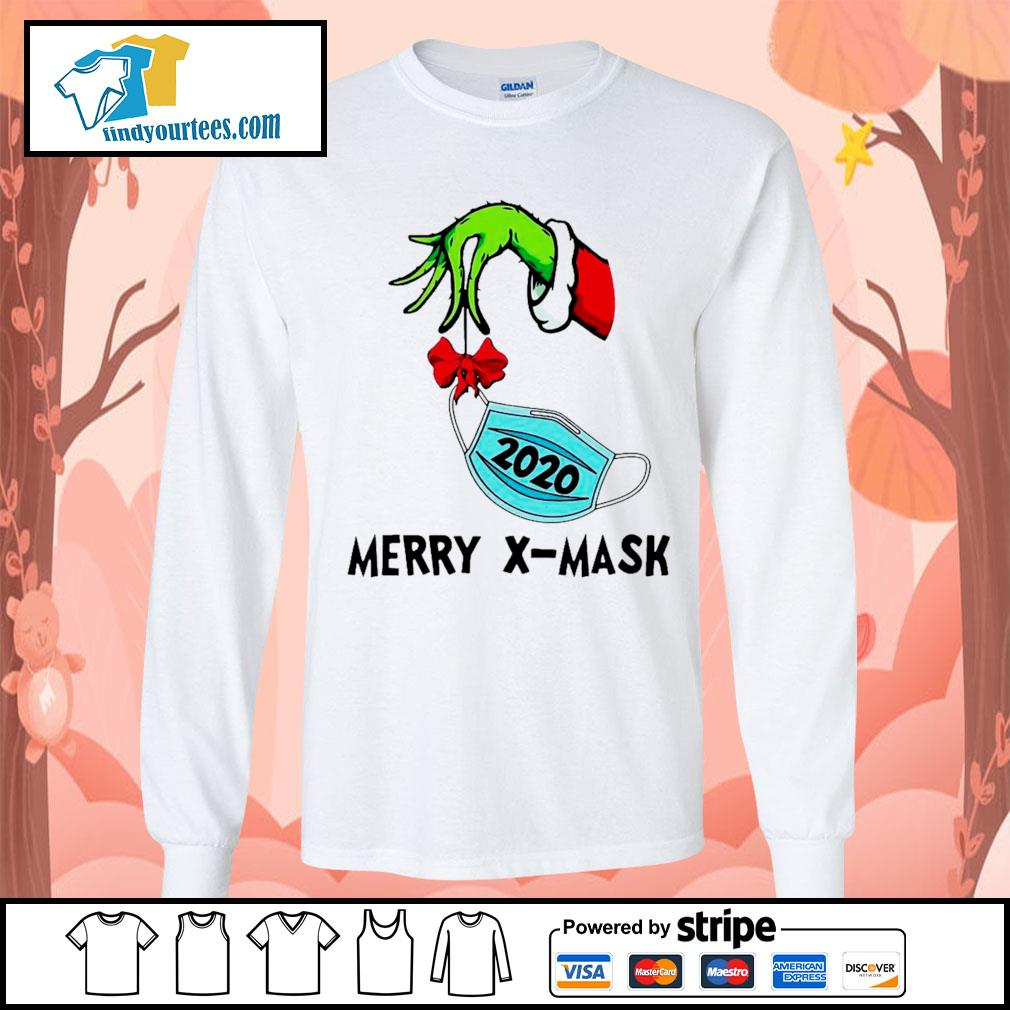 2020 Grinch holding face mask Merry X-Mask shirt, sweater Long-Sleeves-Tee