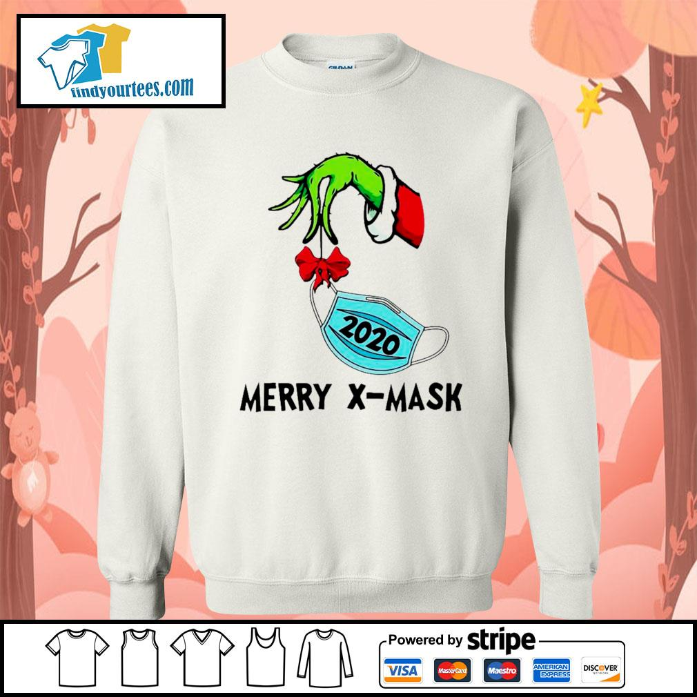 2020 Grinch holding face mask Merry X-Mask shirt, sweater Sweater
