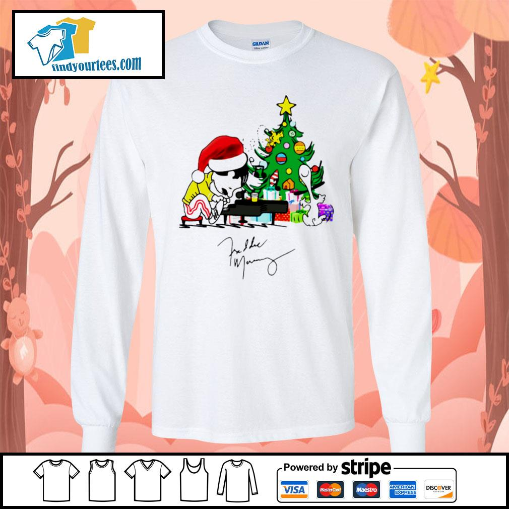 Freddie Mercury playing piano Christmas shirt, sweater Long-Sleeves-Tee