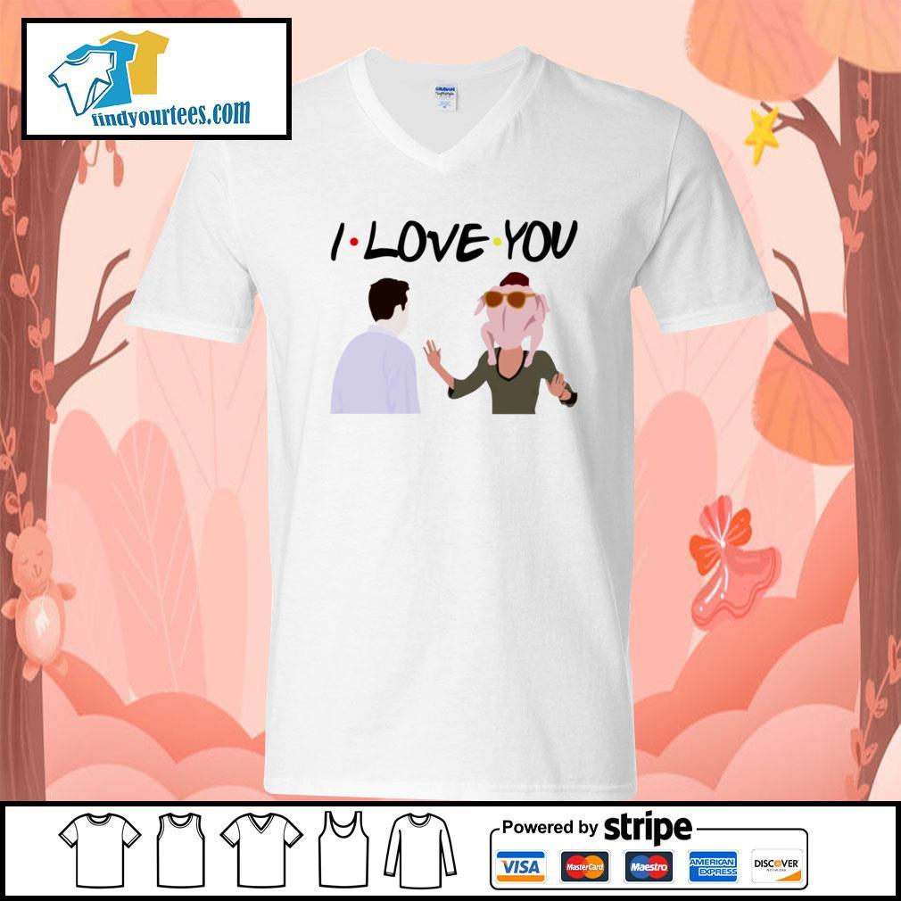 Friends thanksgiving turkey head I love you s V-neck-T-shirt