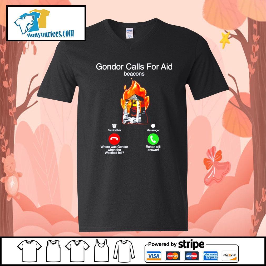 Gondor calls for aid beacons remind me messenger s V-neck-T-shirt