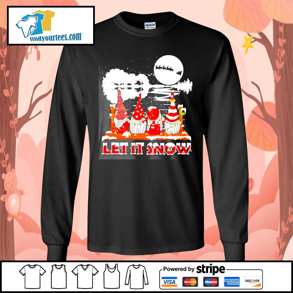 Guitar Gnomes Let It Snow Christmas shirt, sweater Long-Sleeves-Tee