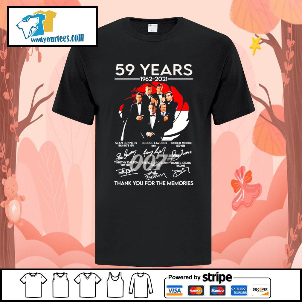 007 59 years 1962 2021 thank you for the memories signatures shirt